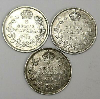 1911 1912 and 1913 Canada 5 cent siver coins 3-coins VF25 or better