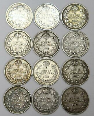 12x Canada 5 cents 2x1905 G/VG and 1906 5x1907 4x1910 VG-F 12-coins