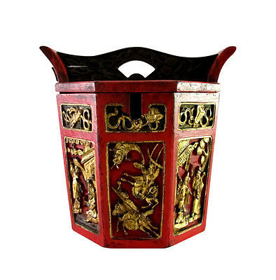 Elaborate Vintage Chinese Hand Painted & Carved Wood Rice Wedding Bucket