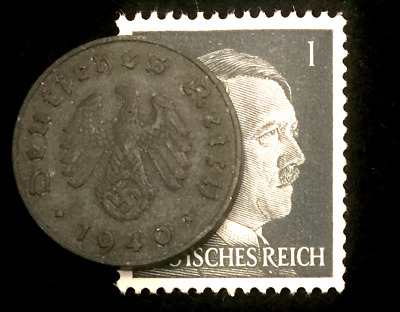 Authentic German WW2 Stamp /& Antique 10 Pf German Coin Historical Artifact