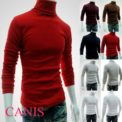 UK✅Men's Winter Warm Knitted High Roll Turtle Neck Pullover Sweater Jumper Tops✅