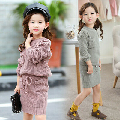 Knitted Sweater Skirt Suit Teenage For Girls Children Clothing Tracksuit Outfit