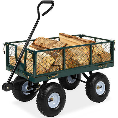 BCP Steel Garden Utility Cart Wagon w/ 400lb Capacity, Removable Sides, Handle