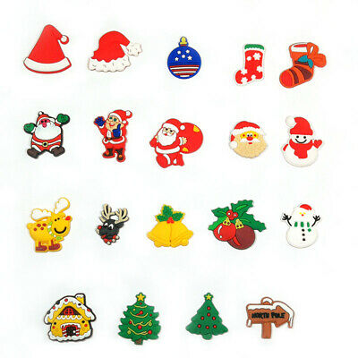 19pcs Christmas Decoration PVC Shoe Charms Buckles Fit for Shoes Bands Xmas Gift