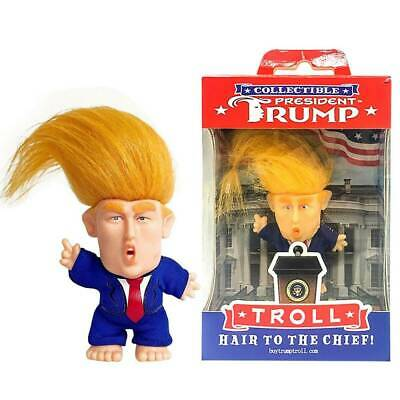 FUNNY PRESIDENT DONALD TRUMP TROLL Doll LONG HAIR CUTE COLLECTIBLE TOY DECOR