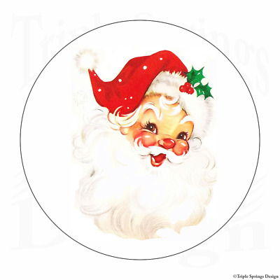 "60 Santa Claus Christmas Joy Vinyl Envelope Seals Labels Stickers 1.2"" Round."