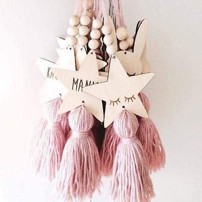 Nordic Style Wood Bead Tassel Wall Hanging Ornaments Kid Bedroom Decor LE