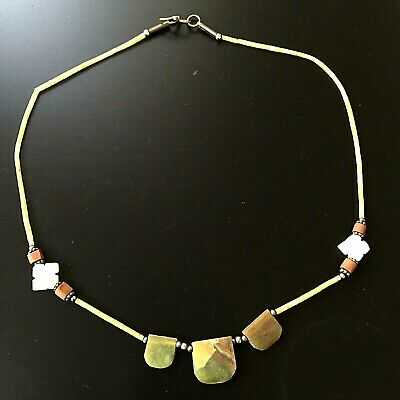 afghan necklace antique jade opal tiny bead vintage roman tribute ancient style