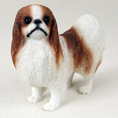 JAPANESE CHIN Dog HAND PAINTED FIGURINE Resin Statue COLLECTIBLE red white puppy