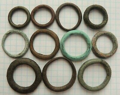 "Lot of 11 Ancient Celtic Proto Money Bronze Rings ""Coins"" Circa 400 BC"