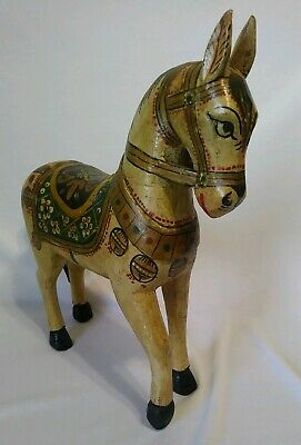 "11.25"" Vintage Hand Carved/Painted Wooden Horse Tabletop Sculpture Figure"