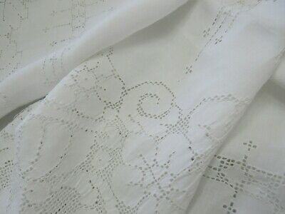 "Large Antique Italian Mosaic Tablecloth 68x101"" WHITE Hand Embroidered Bridal"