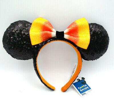 Bow Minnie Ears Kids New Hat Halloween Candy Corn Sequins Disney Parks Headband