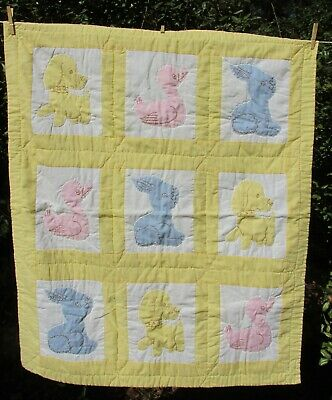 Vintage Handmade Baby Bed Quilt Gingham Dog Duck Bunny Appliqued Embroidered