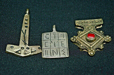 LOT OF 3 Highly Detailed Ancient Celtic Bronze Axe Pendant Amulet Circa 900-600