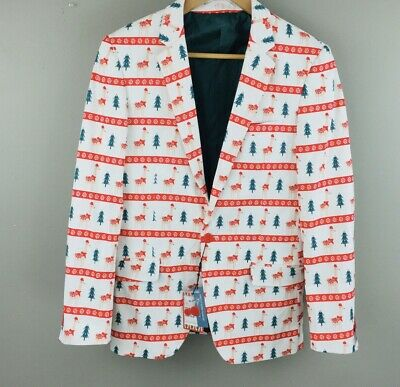 Suslo Couture Mens Size  S 38 Slim Fit Christmas Llama Blazer Jacket Lined NWT