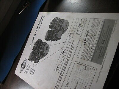 Briggs & Stratton Engines Operating & Maint Manual for 110000 to 210000