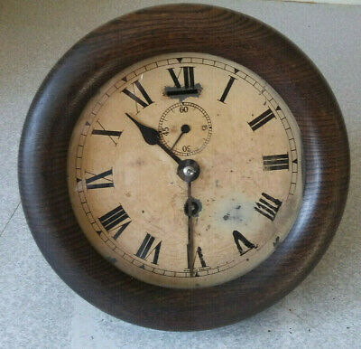 Antique Wooden Wall Clock - Station / School - 6 Inch Dial - Partly Working