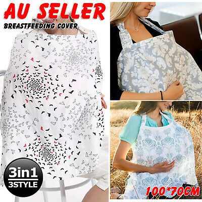 3 in 1 Baby Breastfeeding Nursing Cover 100% Cotton Breathable Apron Blanket AU