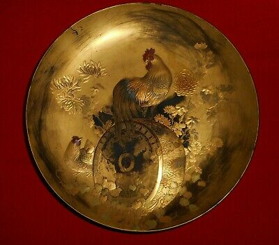 Superb Rare Antique Japanese Gold Lacquer Rooster Hens Scene Large Bowl Signed