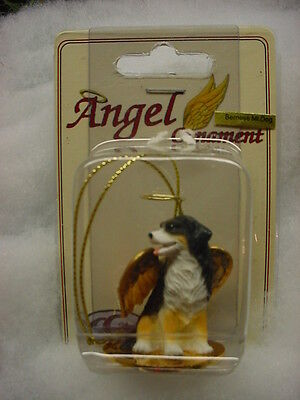 BERNESE MOUNTAIN DOG ANGEL Ornament HAND PAINTED resin FIGURINE Christmas puppy
