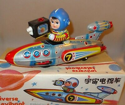 China ME-777 UNIVERSE TELEVISION BOAT SPACE Toy Battery Blechspielzeug Neu+Ovp