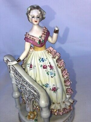 "Victorian Lady Beside Railing - Kitch Boho 7.5"" Tall"