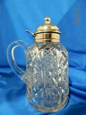 Antique Hobnail Star Glass And Silver Plated Syrup Pitcher W/ Handle