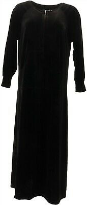 Joan Rivers Petite Length Round Neck Velour Lounger Black PS NEW A344541