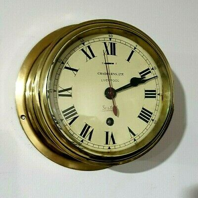 Smiths 6 inch BRASS SHIPS CLOCK (CHADBURNS,Ltd Liverpool) Full working