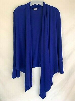Moa Moa Sz Small Petite Blue Open Cardigan Flowy MADE IN USA