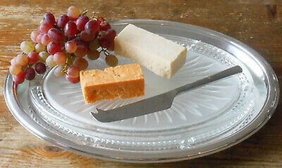 Superb Vintage Christofle Cheese Platter Tray With Heavy Glass - Silver Plated