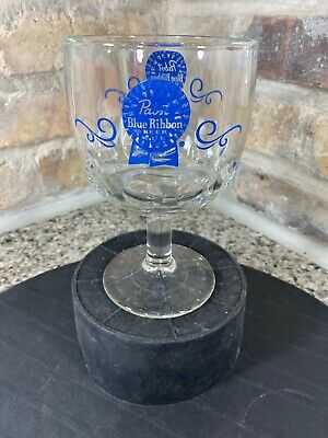 Pabst Blue Ribbon Beer Clear Glass Goblet Thumb Print Stemware Mug Vintage