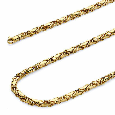 Wellingsale 14k Yellow Gold Solid 4mm Handmade Byzantine Chain Bracelet - 8.5""