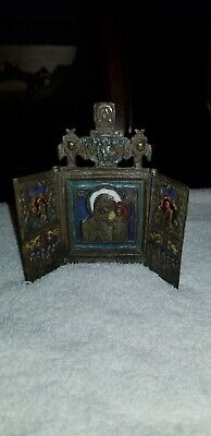 Antique Russian Bronze Enamel Triptych Icon.