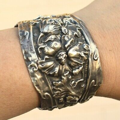 Antique Art Nouveau Sterling Cuff Bracelet Floral Brass 925 Handmade Spoon Ring