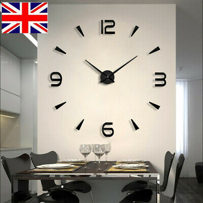 3D Large Modern Wall Clock Frameless Mirror Number Sticker Home Art Decor Hot UK