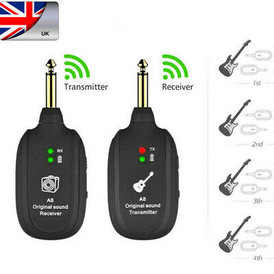 UHF Guitar Bass Wireless System Transmitter Receiver Rechargeable 50M 4 Channels