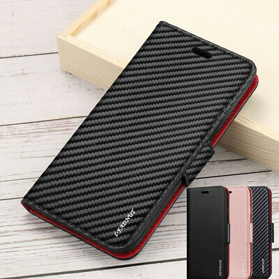 Premium Carbon Leather Magnetic Flip Wallet Case Cover For Samsung S8 S10 J6 J4