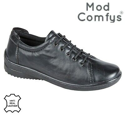 LADIES 5 Eye Lace Up Padded Casual Comfort Shoes  Black Leather Size 3 4 5 6 7 8