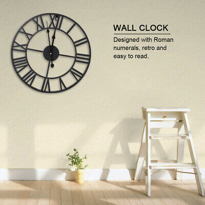60Cm Extra Large Roman Numerals Skeleton Wall Clock Big Giant Open Face Round