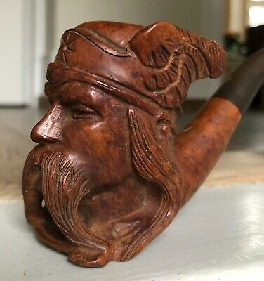 Stunning Norwegian Antique Black Forest Hand Carved Figural Viking Pipe Treen