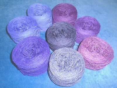 925gms SHETLAND WOOL - 2/9s - 4ply - MIXED PURPLE KNITTING YARN - new