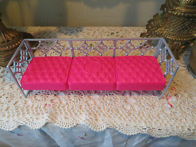 Barbie Furniture Long Pink & Gray Couch