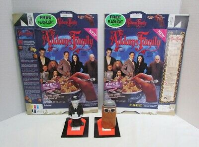Addams Family 1991 Ralston Cereal Box Pair & Flashlight Premiums Lurch Cousin It