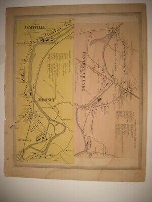 Antique Plainfield Moosup Central Village Windham County Connecticut Handclr Map