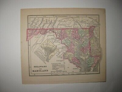 Early Antique 1857 Delaware Maryland Washington Dc Handcolored Map Railroad Fine