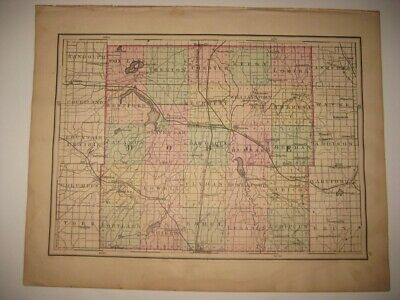 Antique 1876 Dodge Washington Ozaukee County Wisconsin Handcolored Map Rare Fine