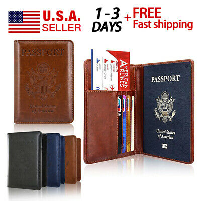 RFID Wallet Blocking Leather Passport Holder Case Cover for Securely Travel Trip