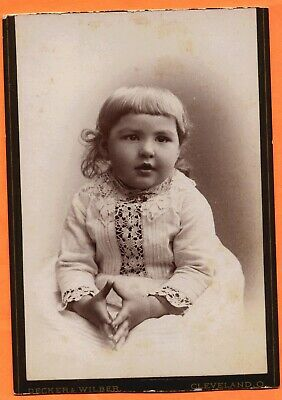 Cleveland, OH, Portrait of a Little Girl, by Decker & Wilber, ca 1880s Backstamp